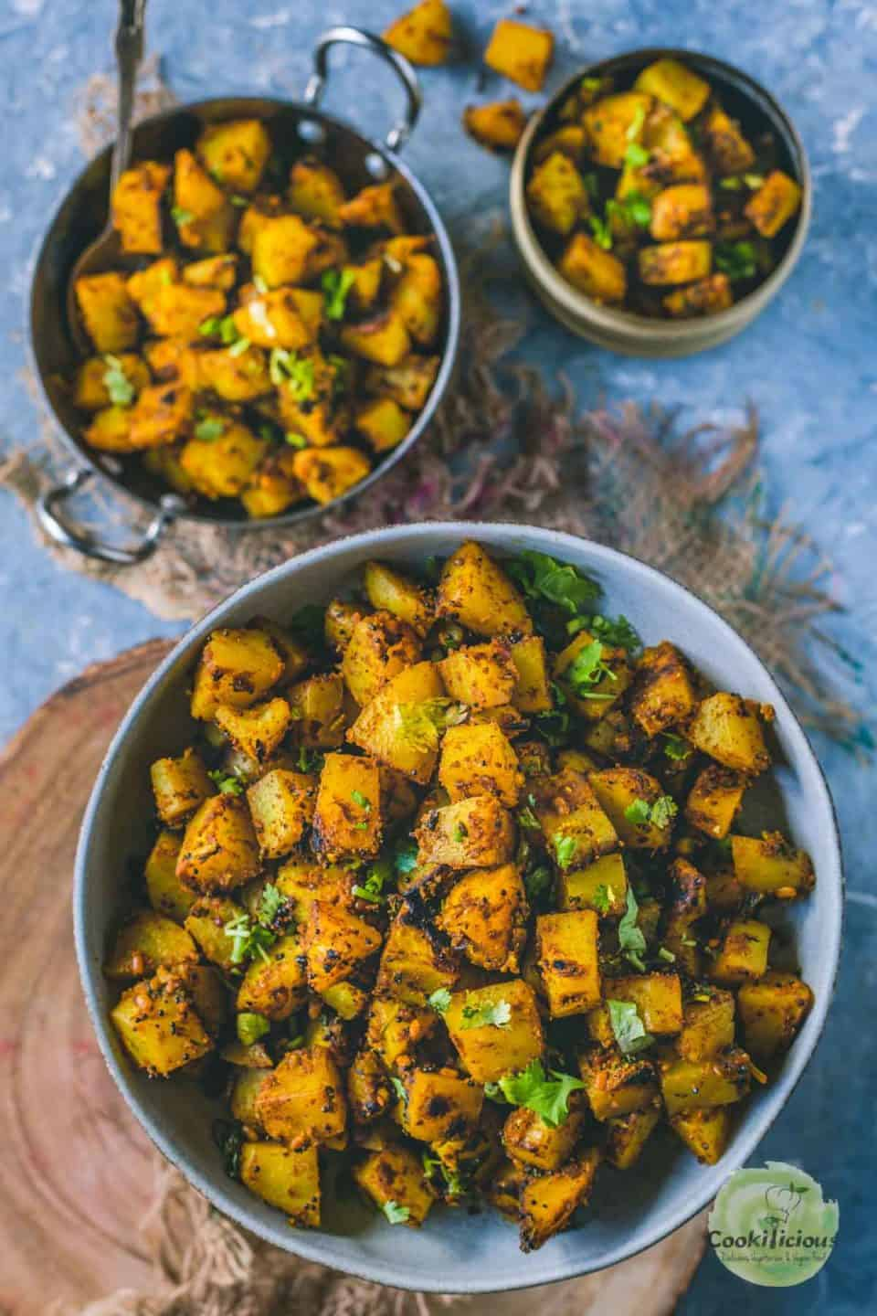 close up of South Indian Spicy Potato Curry in a bowl