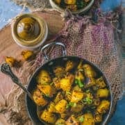South Indian Spicy Potato Curry in a small kadai