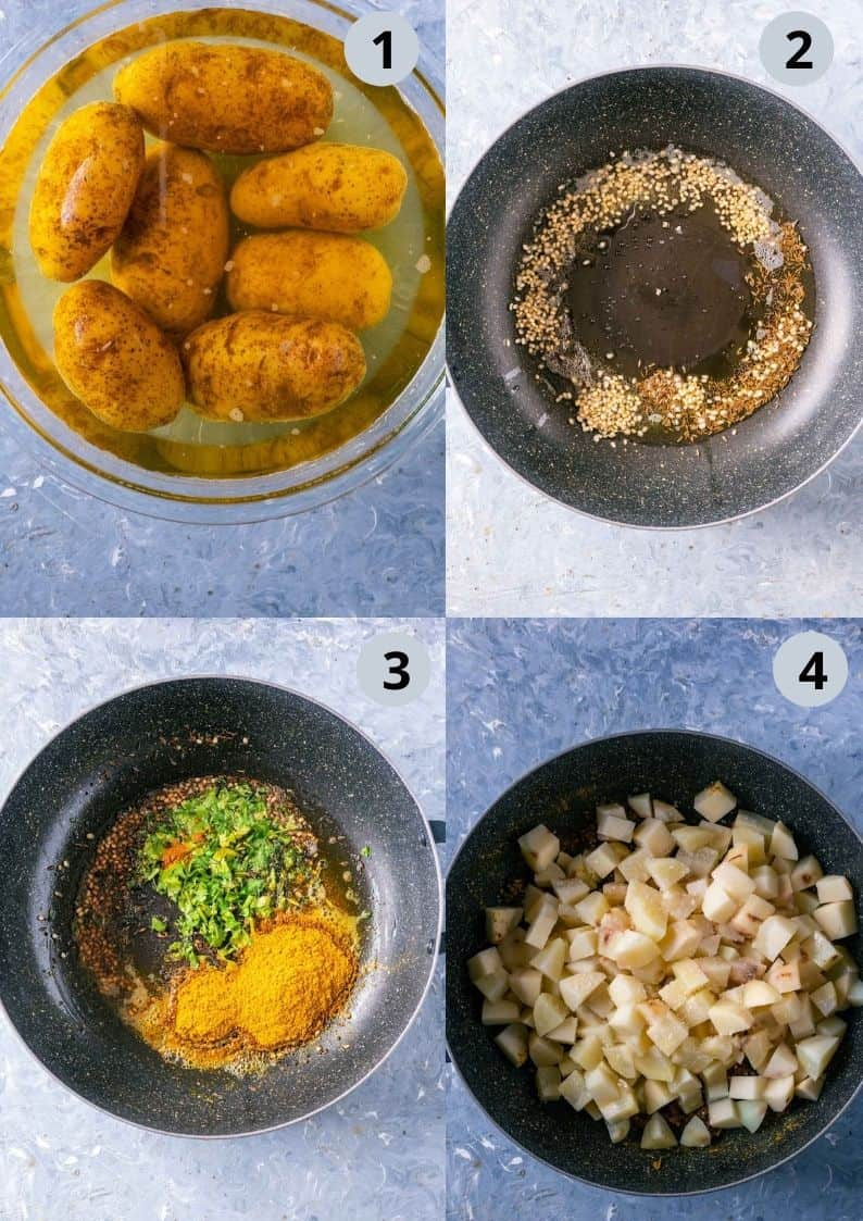 4 image collage showing the steps to make South Indian Spicy Potato Curry
