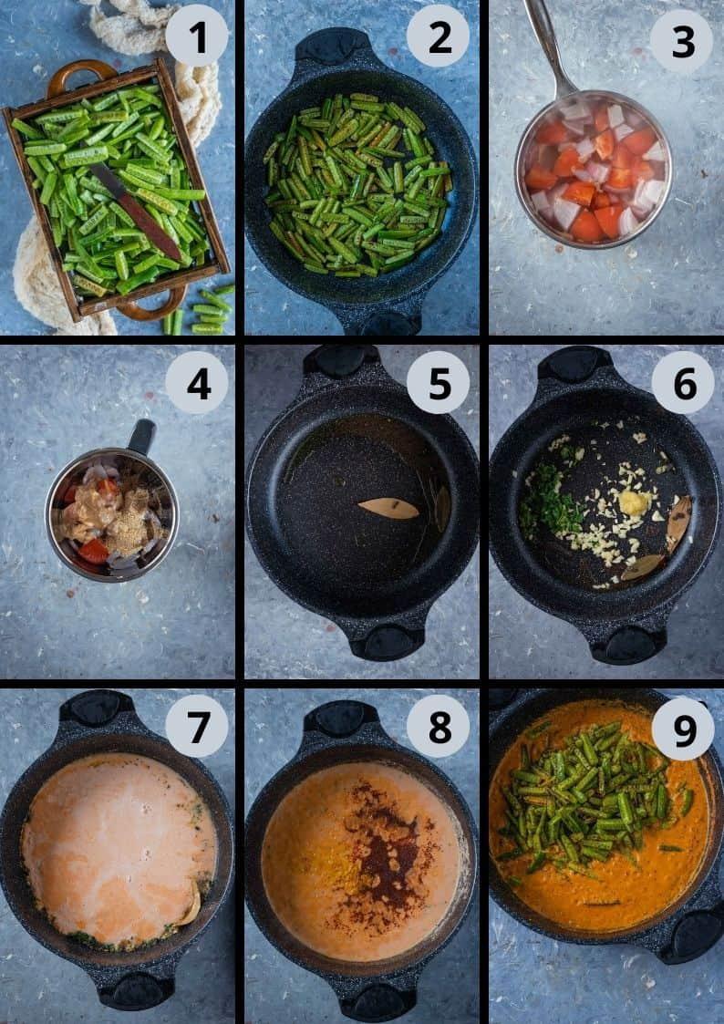 9 image collage showing how to make Shahi Tendli