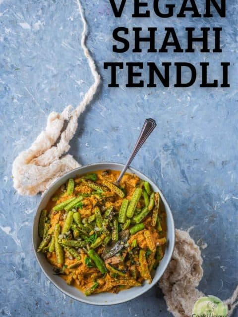 a bowl of Shahi Tendli with a spoon in it and text at the top right