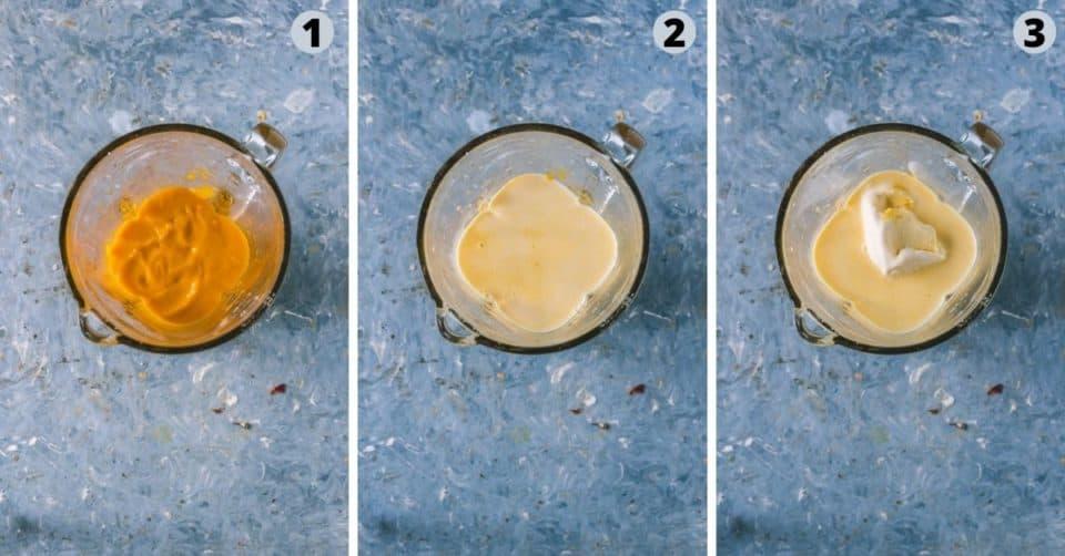 3 image collage showing how to make Mango Mastani | Indian Mango Milkshake