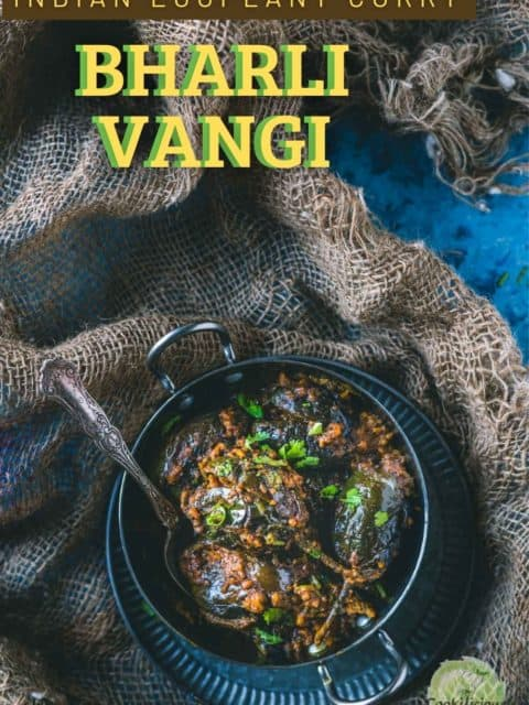Bharli Vangi served in a small kadai and text at the top