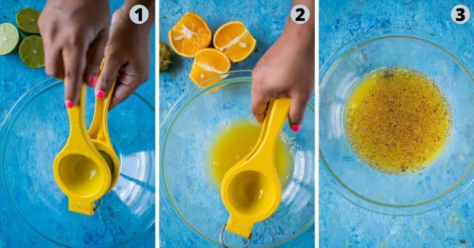 3 image collage showing how to make Rose Lemonade
