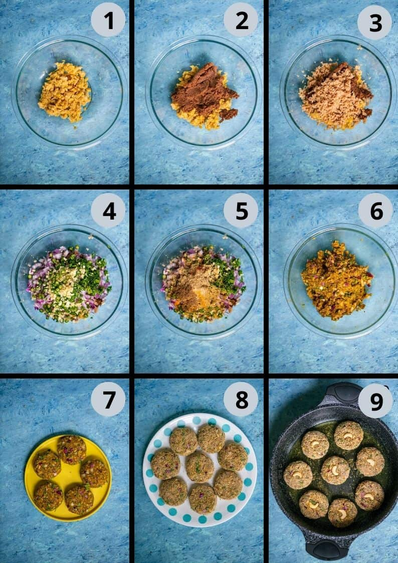 9 image collage showing how to make chickpea patty