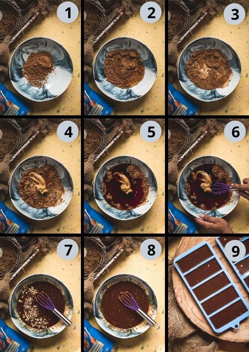 9 image collage showing the steps to make Vegan Chocolate Macadamia Bars