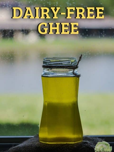 a tall glass jar filled with vegan ghee and text at the top