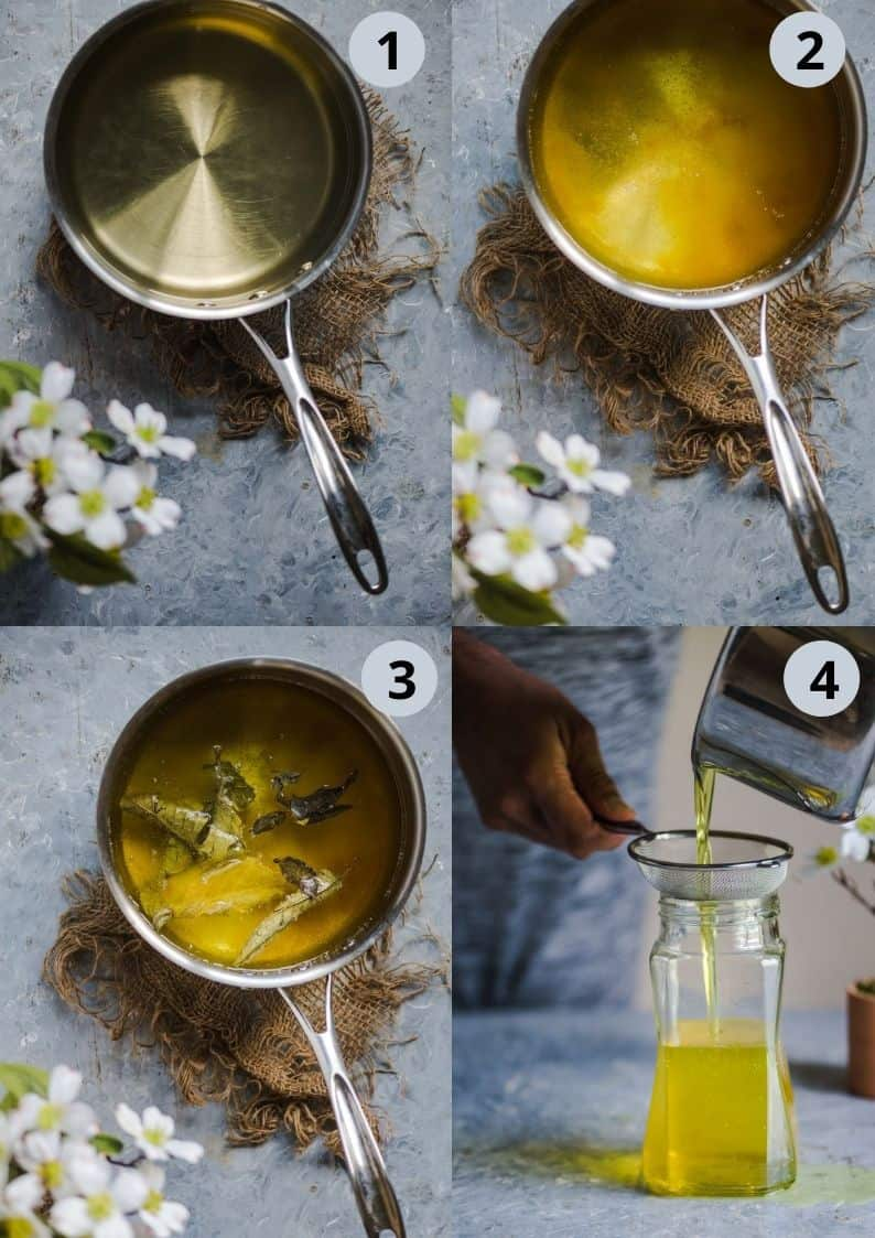 4 image collage showing how to make dairy free ghee at home