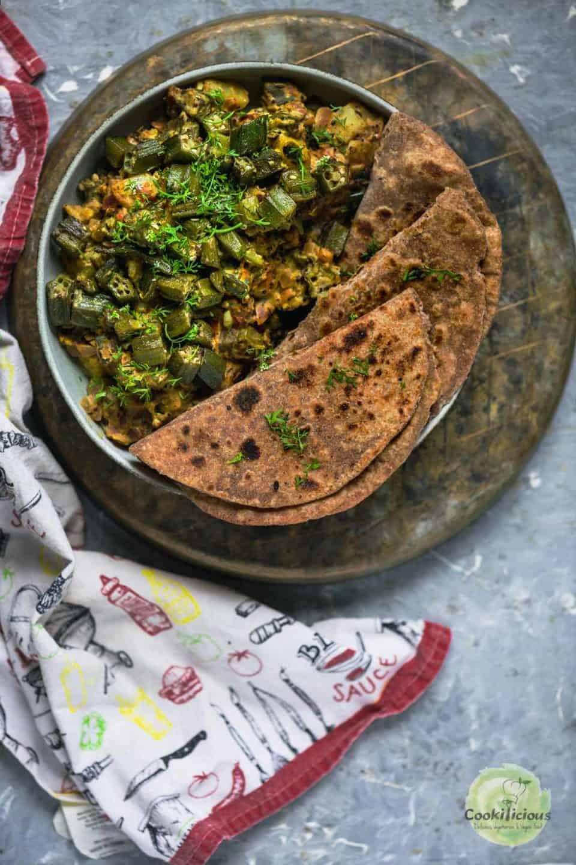 Achari Dahi Bhindi served with roti
