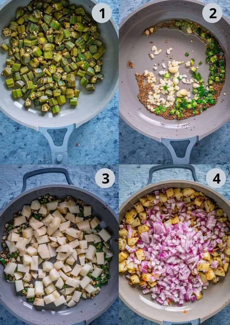 4 image collage showing how to make Achari Dahi Bhindi