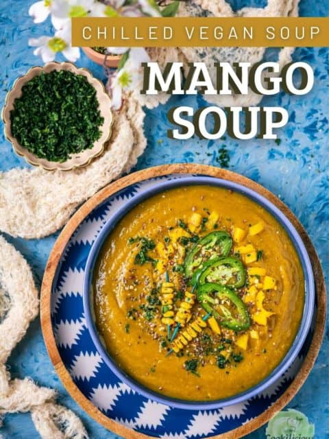a big bowl of mango soup and text at the top right