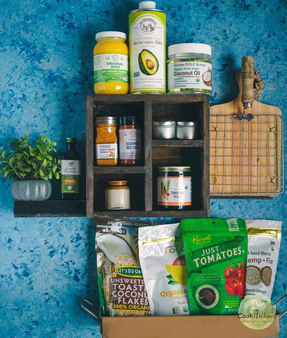 a view of kitchen shelf with products
