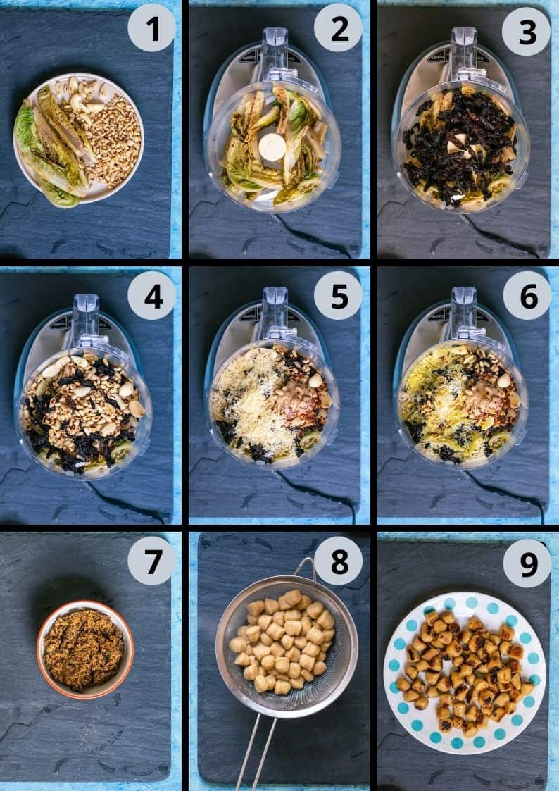 9 image collage showing how to make Sun Dried Tomato Pesto With Vegan Gnocchi
