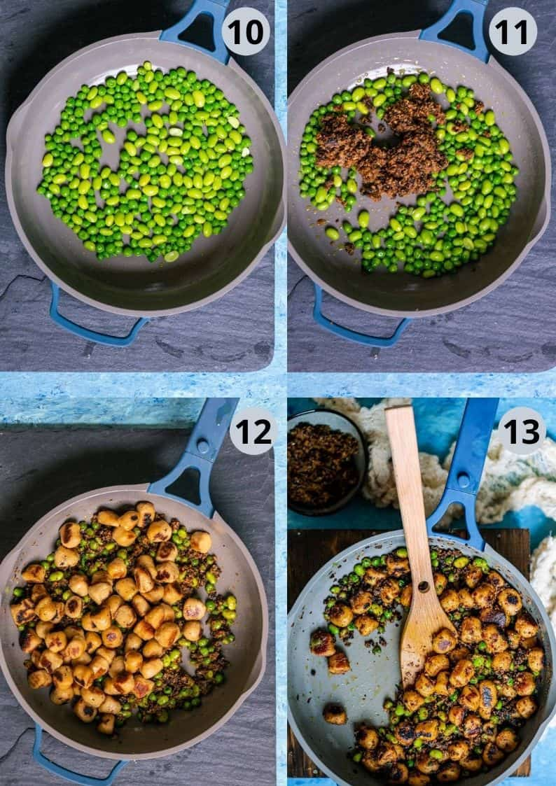 4 image collage showing how to assemble Sun Dried Tomato Pesto With Vegan Gnocchi