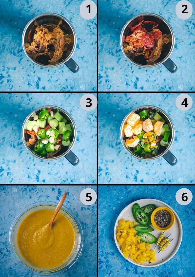 6 image collage showing how to make mango gazpacho