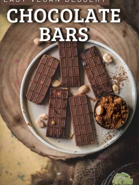 5 mini Vegan Chocolate Macadamia Bars served in a plate and text at the top