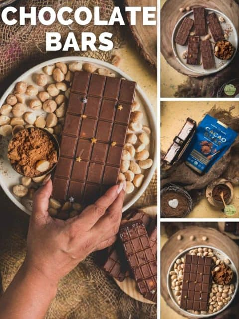 4 image collage of Vegan Chocolate Macadamia Bars with text at the top left