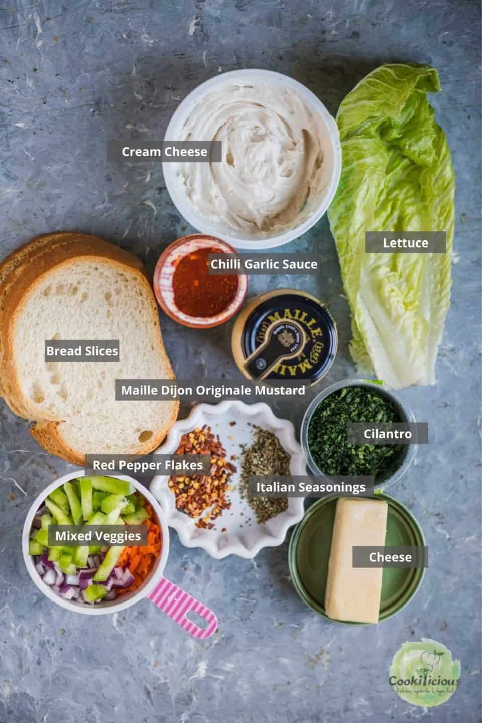all the ingredients needed to make Veggie Sandwich placed on a table with labels on them