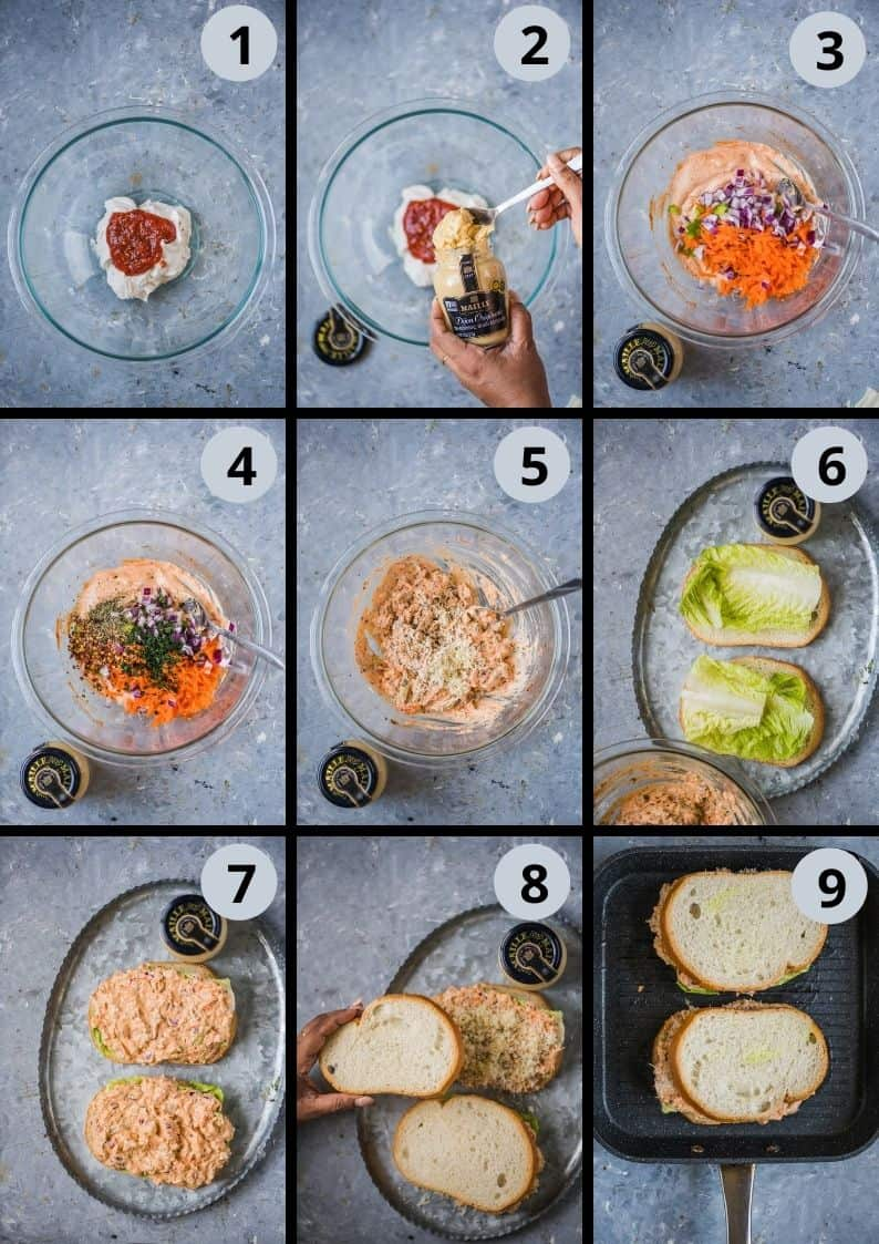 9 image collage showing how to make Veggie Sandwich