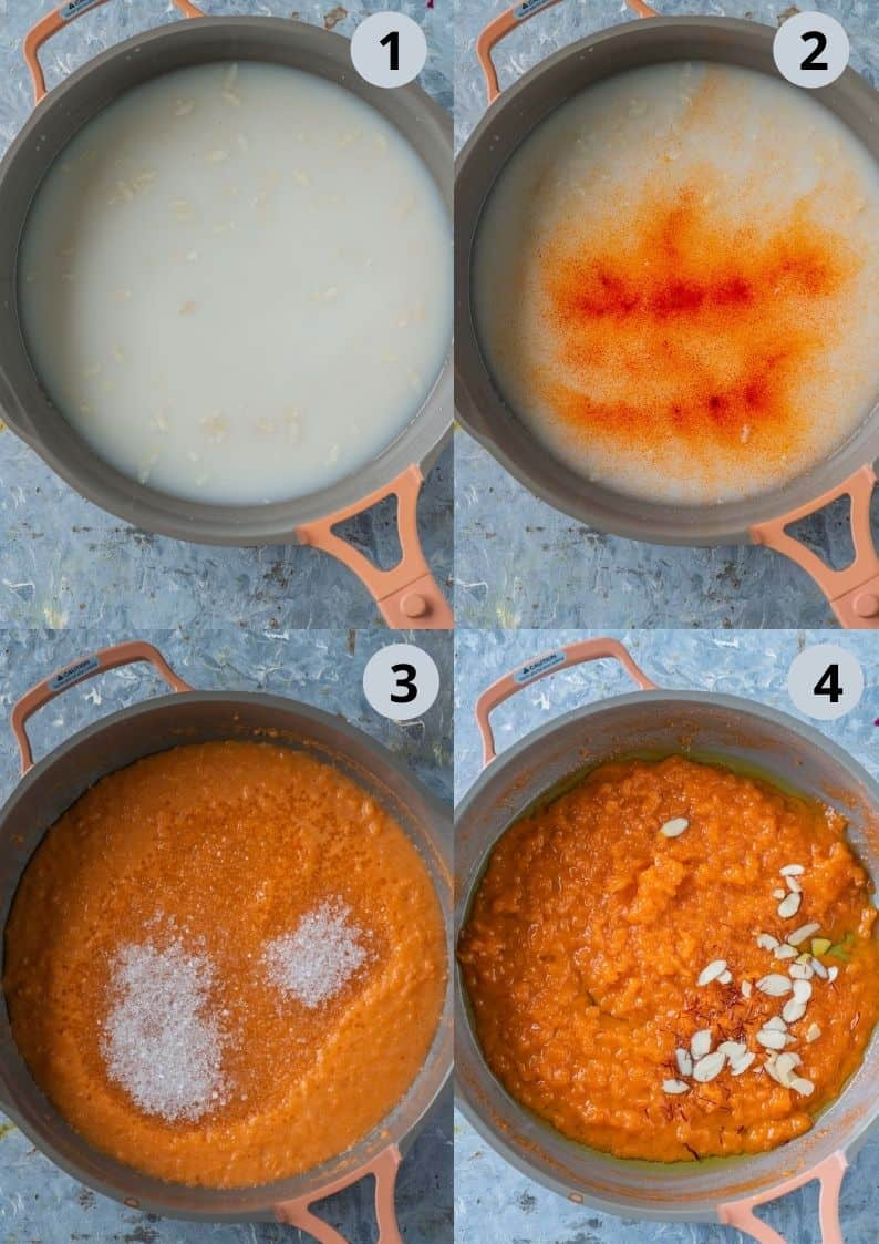 4 image collage showing how to make aval kesari