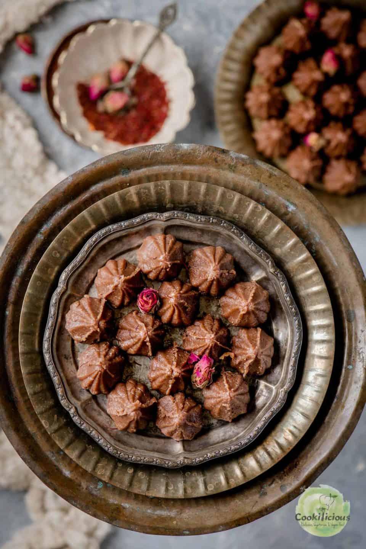 Chocolate Mawa Modak served in a plate
