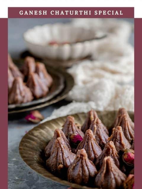 Chocolate Mawa Modak closeup and text at the top