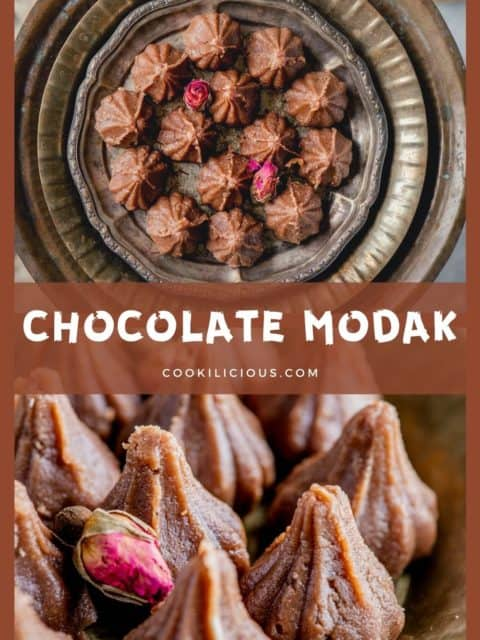 2 image collage of Chocolate Mawa Modak with text in the middle