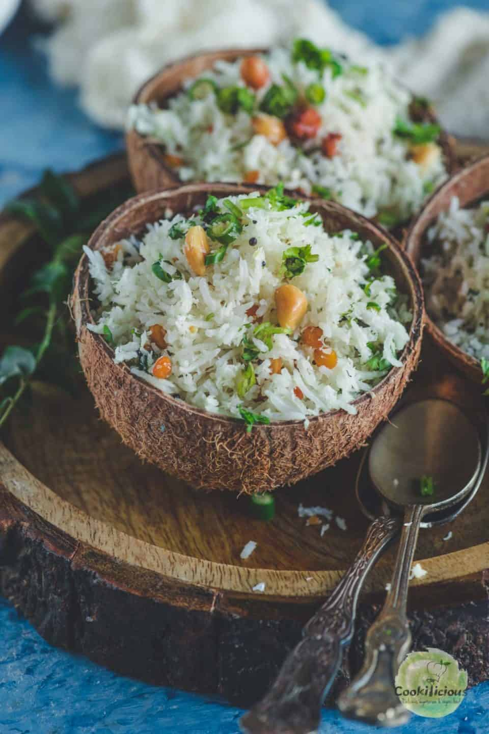 South Indian Coconut Rice served in a coconut shell