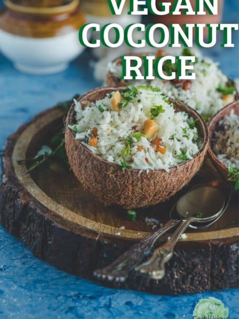 a coconut shell filled with South Indian Coconut Rice with text at the top right