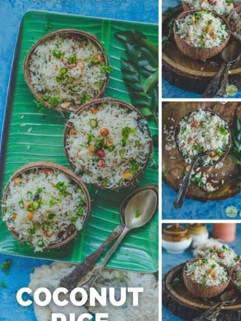 4 image collage of coconut rice