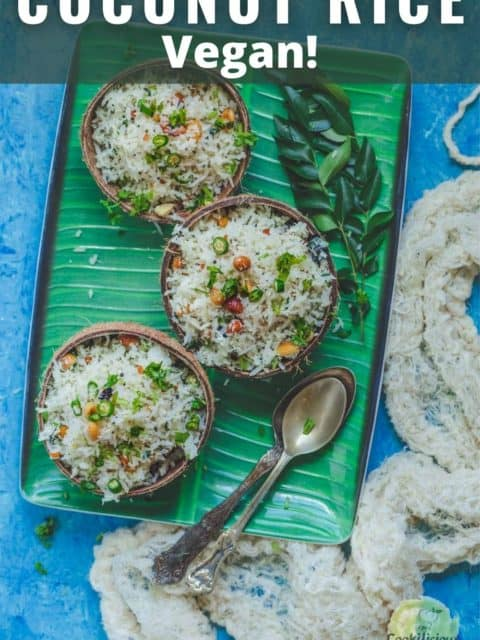 3 coconut bowls filled with South Indian Coconut Rice in a tray and text at the top