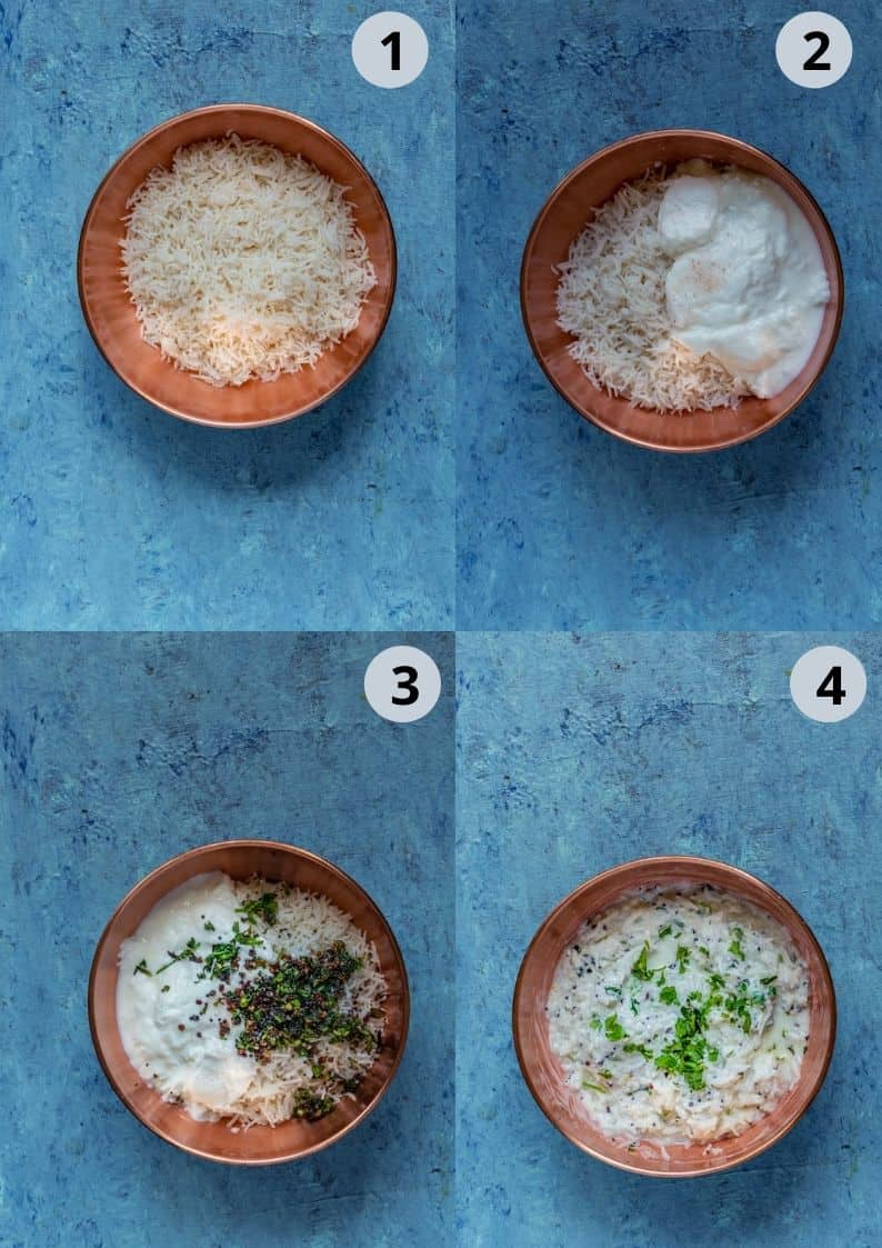 4 image collage showing how to make dahi bhaat