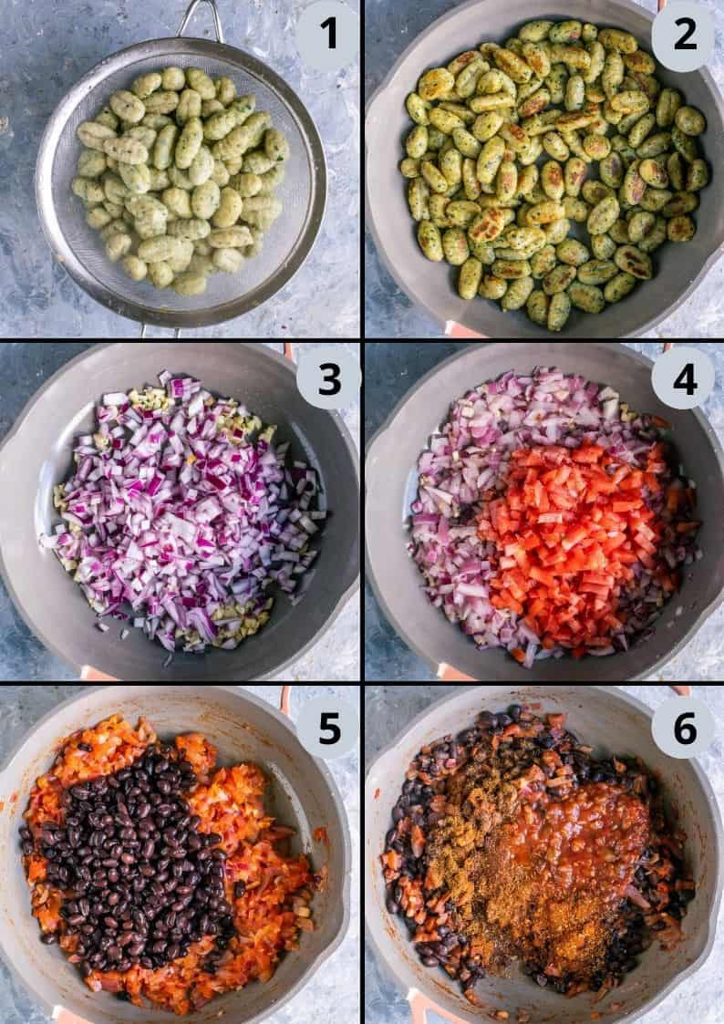 6 image collage showing the process to make Vegan Mexican casserole
