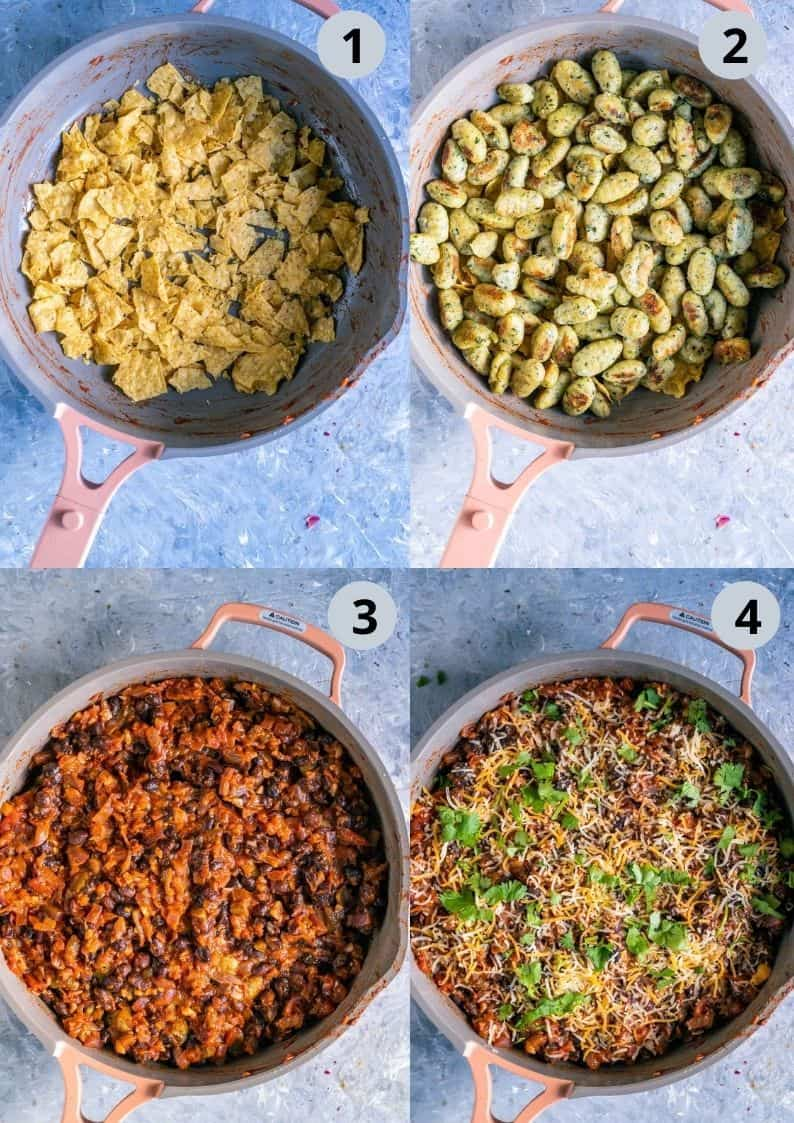 4 image collage showing how to assemble a Vegan Mexican casserole in a skillet