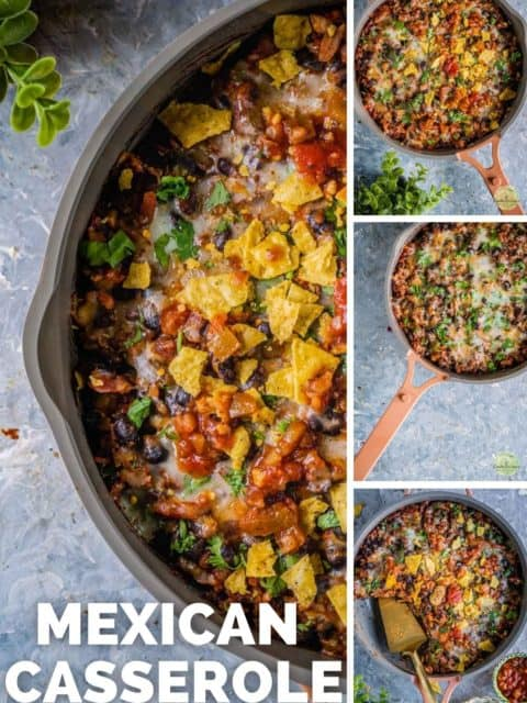 4 image collage of Vegan Mexican casserole with text at the bottom left