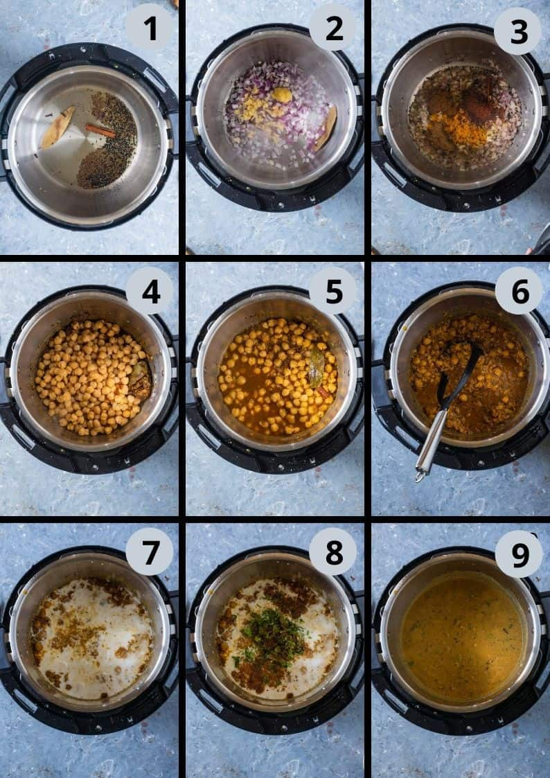 9 image collage showing the steps to make Shahjahani Dal