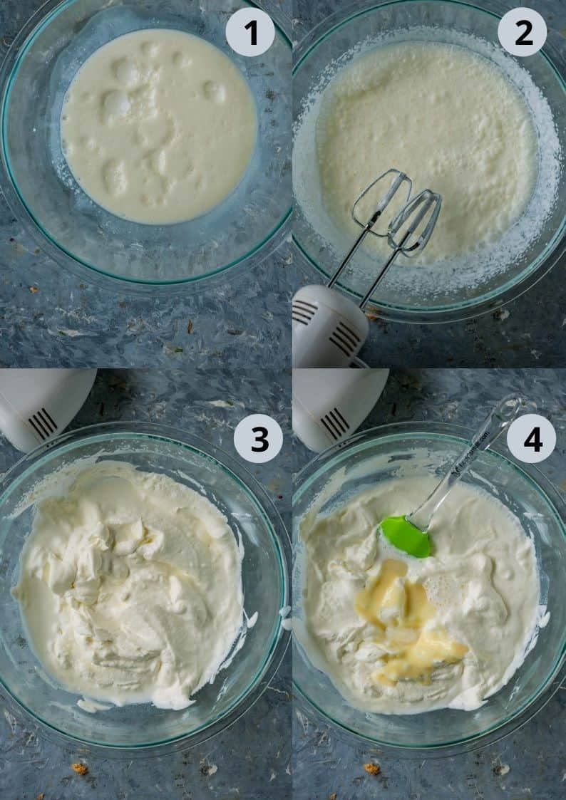 4 image collage showing the steps to make guava ice cream