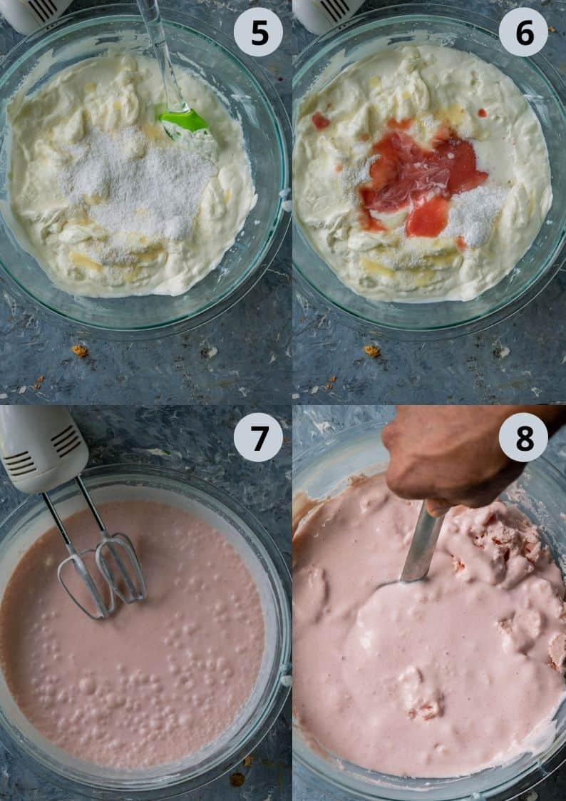 4 image collage showing how to make guava ice cream