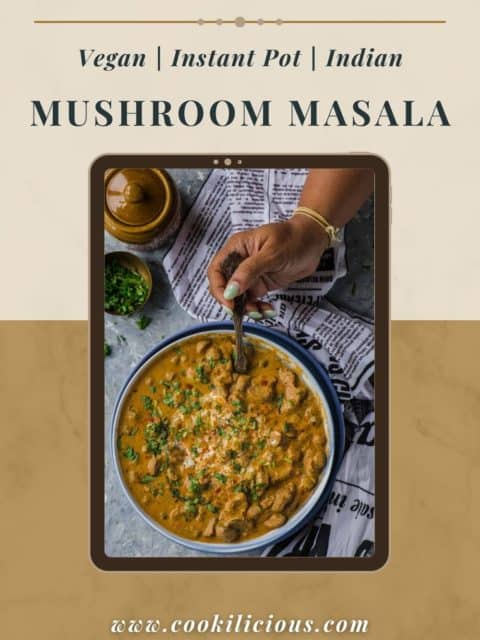 a hand holding a spoon and digging into a bowl of Mushroom Masala with text at the top
