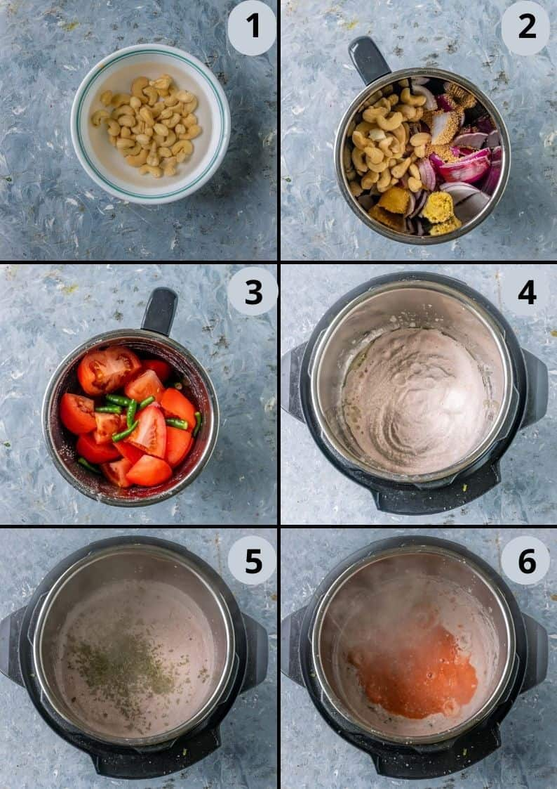 6 image collage showing the steps to make Mushroom Masala