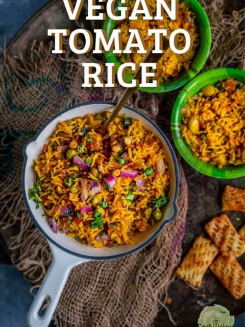 one pan and two bowls of tomato rice and text at the top
