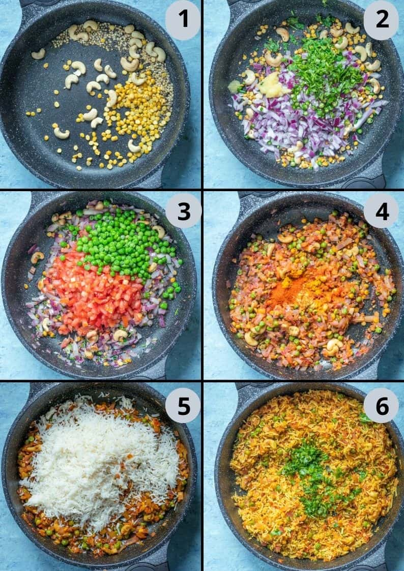6 image collage showing how to make tomato rice South Indian style