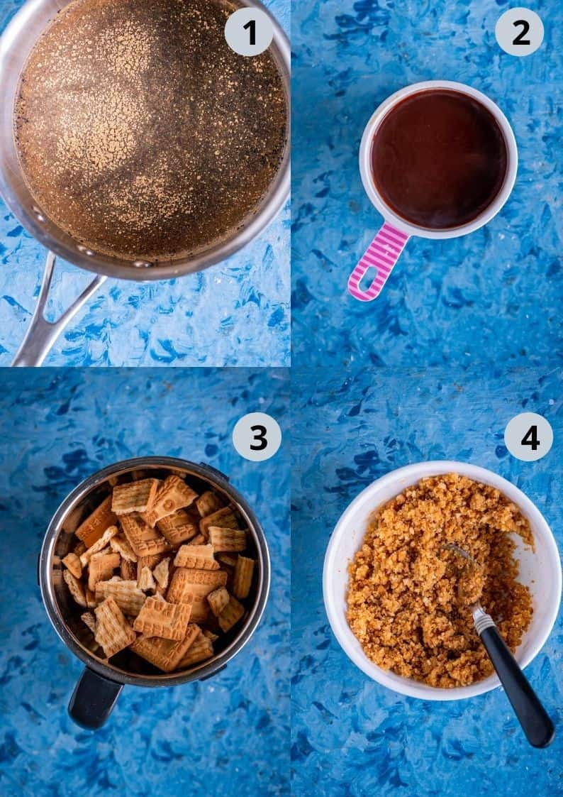 4 image collage showing how to make the crust for chai cheesecake