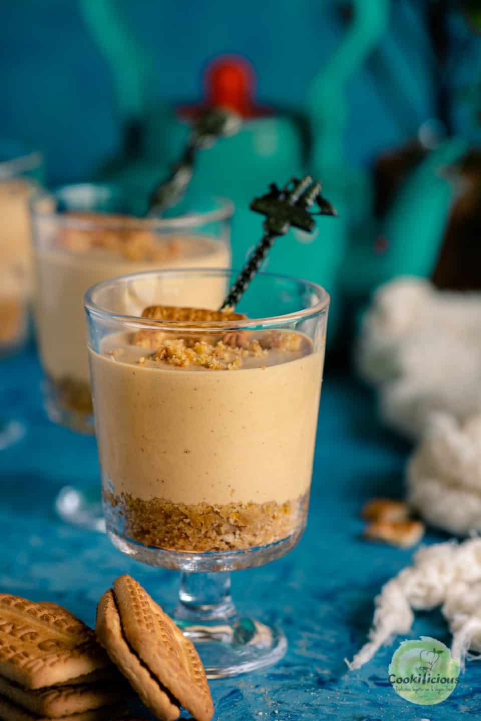 eggless chai cheesecake served in small glasses