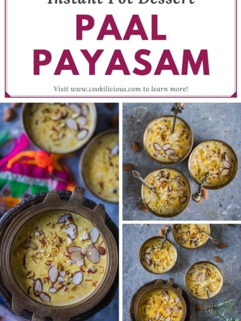 3 image collage of paal payasam with text at the top