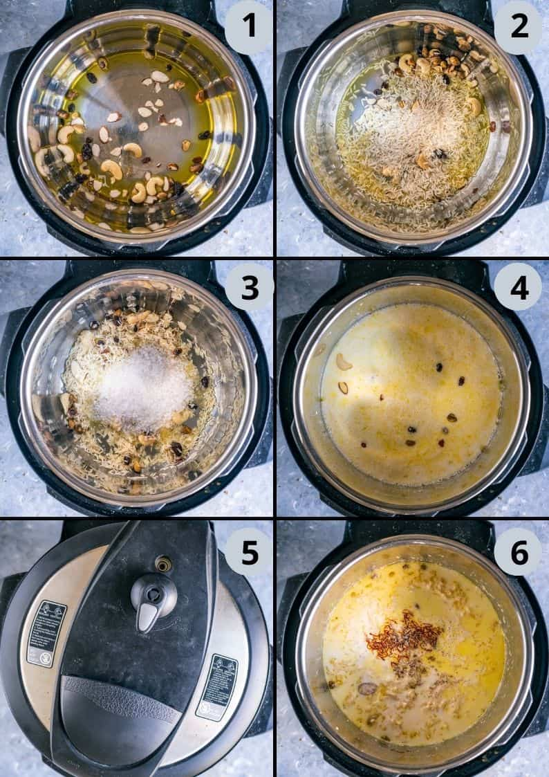 6 image collage showing how to make kheer or paal payasam in the Instant pot