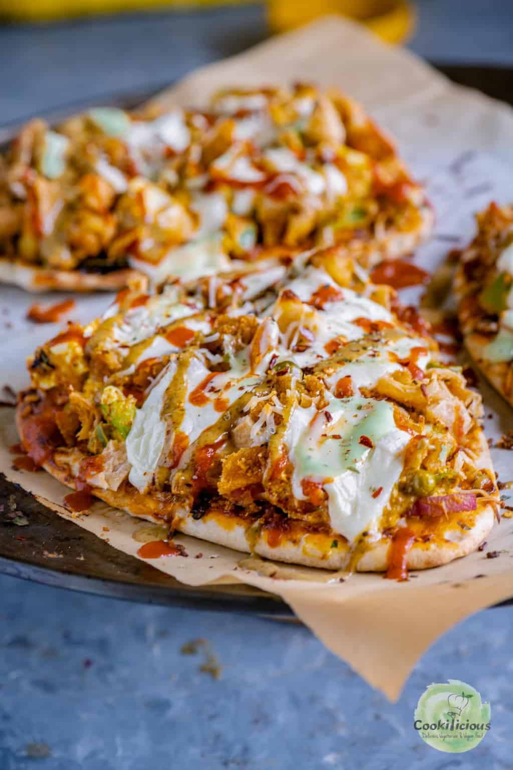 cheesy Paneer Naan Pizza fresh out of the oven