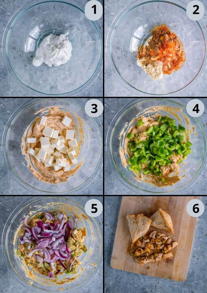 6 image collage showing how to marinade the paneer for Paneer Naan Pizza