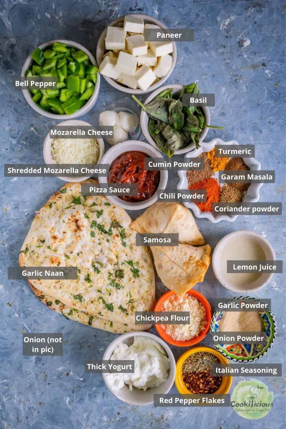 all the ingredients needed to make Paneer Naan Pizza placed on a tray with labels on them