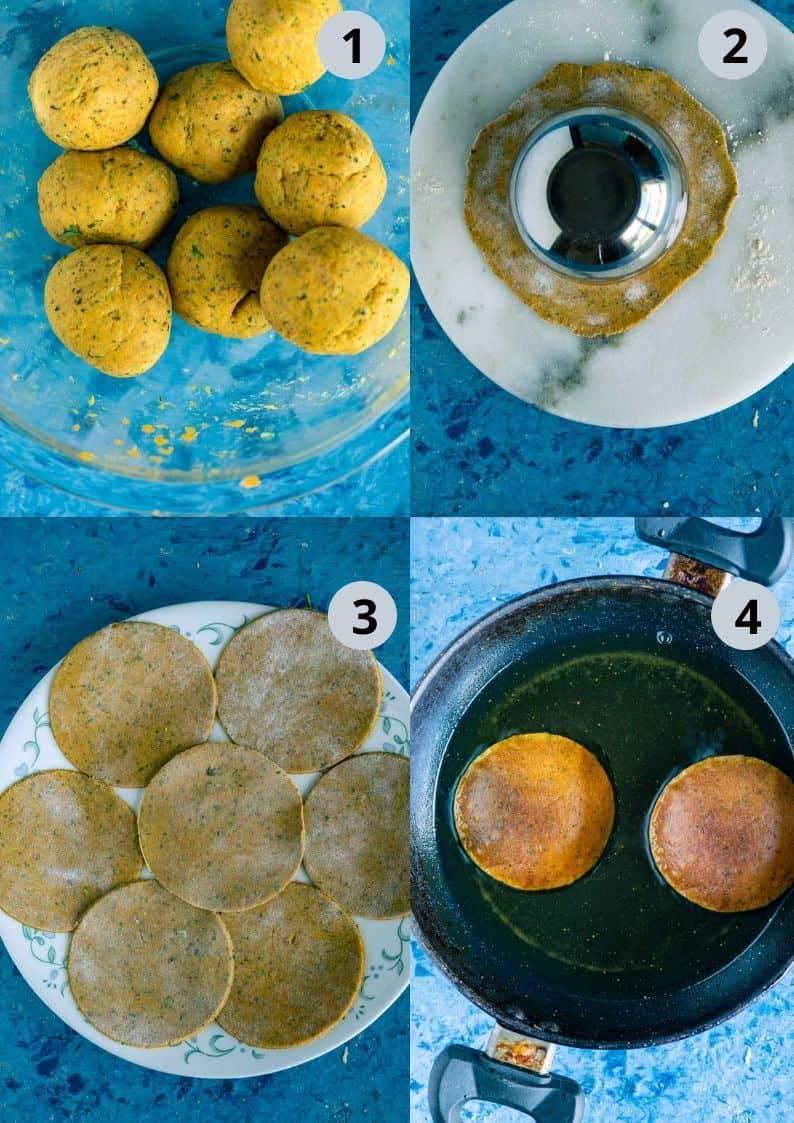 4 image collage showing the steps to make Sweet Potato Masala Puri